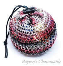 Load image into Gallery viewer, Rayven's Chainmaille| Pink and Black Mega Chainmail Dice Bag