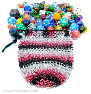 Rayven's Chainmaille| Pink and Black Mega Chainmail Dice Bag