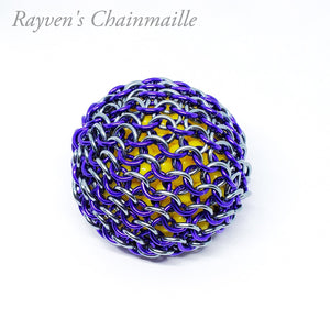Purple and Black Ice Chainmail Hacky Sack - Rayven's Chainmaille