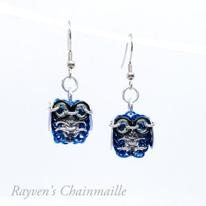 Rayven's Chainmaille - Blue and Silver Owl Chainmail Earrings