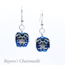 Load image into Gallery viewer, Rayven's Chainmaille - Blue and Silver Owl Chainmail Earrings