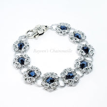 Load image into Gallery viewer, Silver Austrian Crystal Romanov Chainmail Bracelet - Rayven's Chainmaille