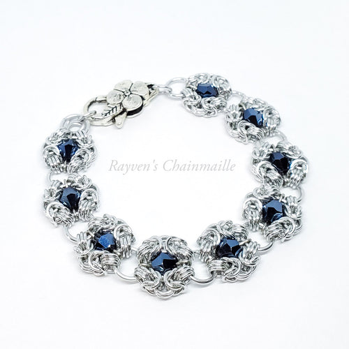 Silver Austrian Crystal Romanov Chainmail Bracelet - Rayven's Chainmaille