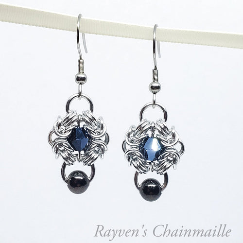 Silver Beaded Crystal Romanov Chainmail Earrings - Rayven's Chainmaille
