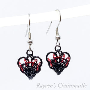 Rayven's Chainmaille| Small Chain Mail Heart Earrings