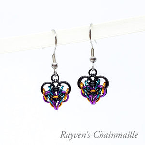 Rayven's Chainmaille | Small Chain Mail Heart Earrings