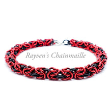 Load image into Gallery viewer, Black & Red Byzantine Chainmail Bracelet - Rayven's Chainmaille