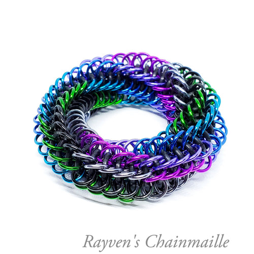 Peacock Infinity Rose Mini Chainmail Fidget Toy - Rayven's Chainmaille