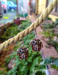 Brown Owl Chainmaille Earrings
