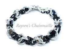 Load image into Gallery viewer, Silver & Black Byzantine Captured Crystals Chainmaille Bracelet - Rayven's Chainmaille