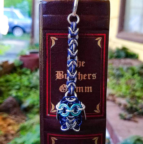 Blue & Silver Owl Chainmaille Bookmark - Rayven's Chainmaille