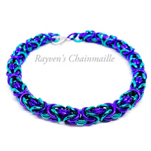 Load image into Gallery viewer, Teal and Purple Byzantine Chainmail Bracelet - Rayven's Chainmaille
