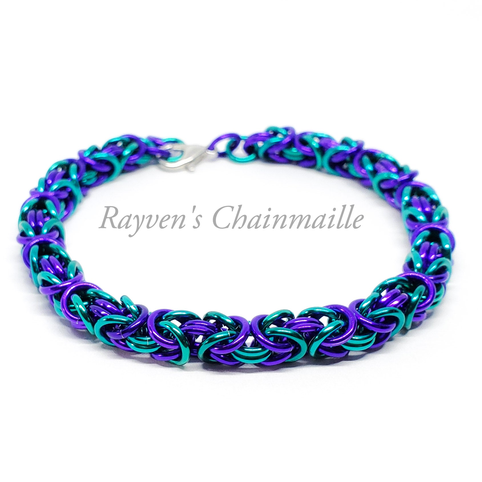 Teal and Purple Byzantine Chainmail Bracelet - Rayven's Chainmaille