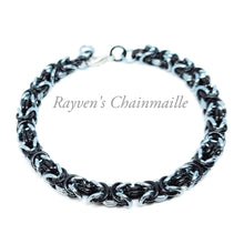 Load image into Gallery viewer, Gunmetal Black Byzantine Chainmail Bracelet - Rayven's Chainmaille