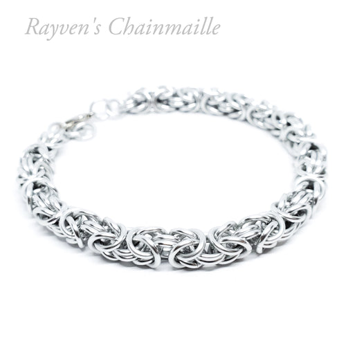 Silver Byzantine Chainmail Bracelet - Rayven's Chainmaille