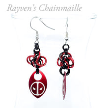 Load image into Gallery viewer, Deadpool Scalemaille Chainmail Earrings - Rayven's Chainmaille