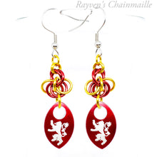 Load image into Gallery viewer, Gryffindor Scalemaille Chainmail Earrings - Rayven's Chainmaille