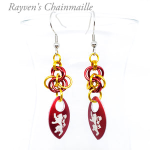 Gryffindor Scalemaille Chainmail Earrings - Rayven's Chainmaille