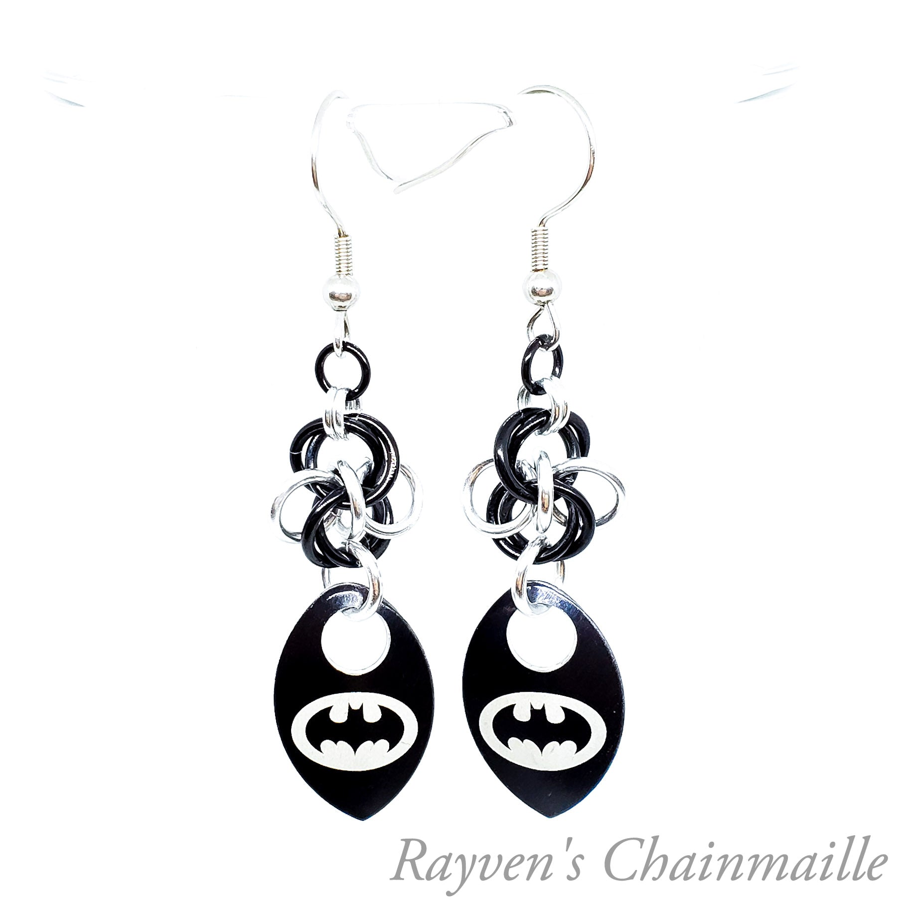 Batman Signal scalemaille chainmail earrings - Rayven's Chainmaille