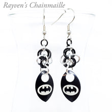 Load image into Gallery viewer, Batman Signal scalemaille chainmail earrings - Rayven's Chainmaille