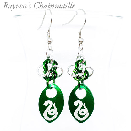 Slytherin Scalemaille Chainmail Earrings - Rayven's Chainmaille