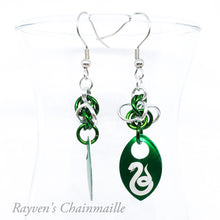 Load image into Gallery viewer, Slytherin Scalemaille Chainmail Earrings - Rayven's Chainmaille