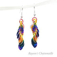 Load image into Gallery viewer, Rainbow Punk Scale Chainmail Earrings - Rayven's Chainmaille