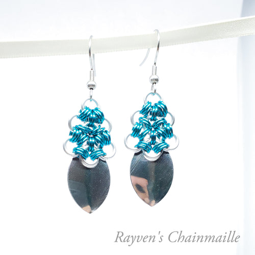 Japanese Spade Chainmaille earrings - Rayven's Chainmaille