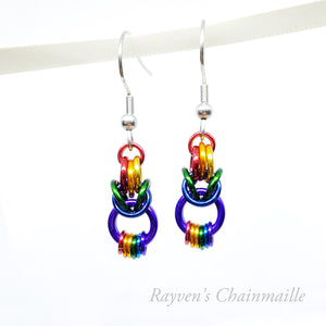 Rainbow Looped Byzantine Chainmail Earrings - Rayven's Chainmaille