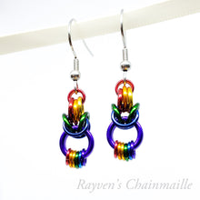 Load image into Gallery viewer, Rainbow Looped Byzantine Chainmail Earrings - Rayven's Chainmaille
