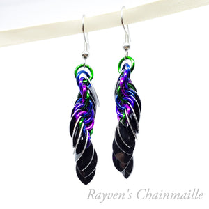 Punk Scale Chainmail Earrings - Rayven's Chainmaille