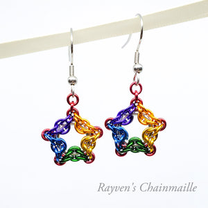 Rainbow Celtic Star Chainmail Earrings - Rayven's Chainmaille
