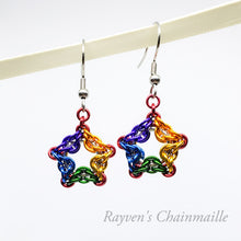Load image into Gallery viewer, Rainbow Celtic Star Chainmail Earrings - Rayven's Chainmaille
