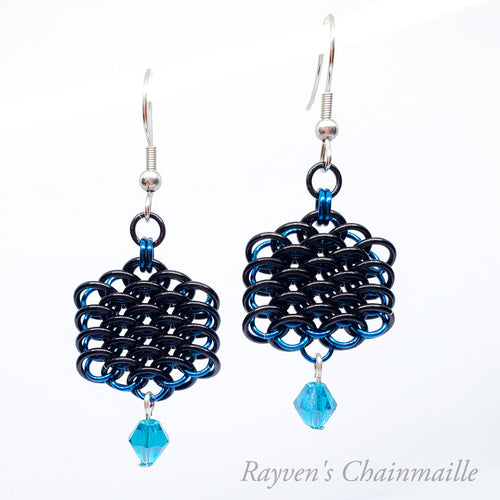 Dragonscale Crystal Hex Chainmail Earrings - Rayven's Chainmaille