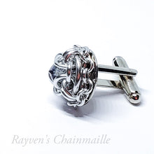 Load image into Gallery viewer, Crystal Chained Hoodoo Hex Chainmail Cufflinks - Rayven's Chainmaille