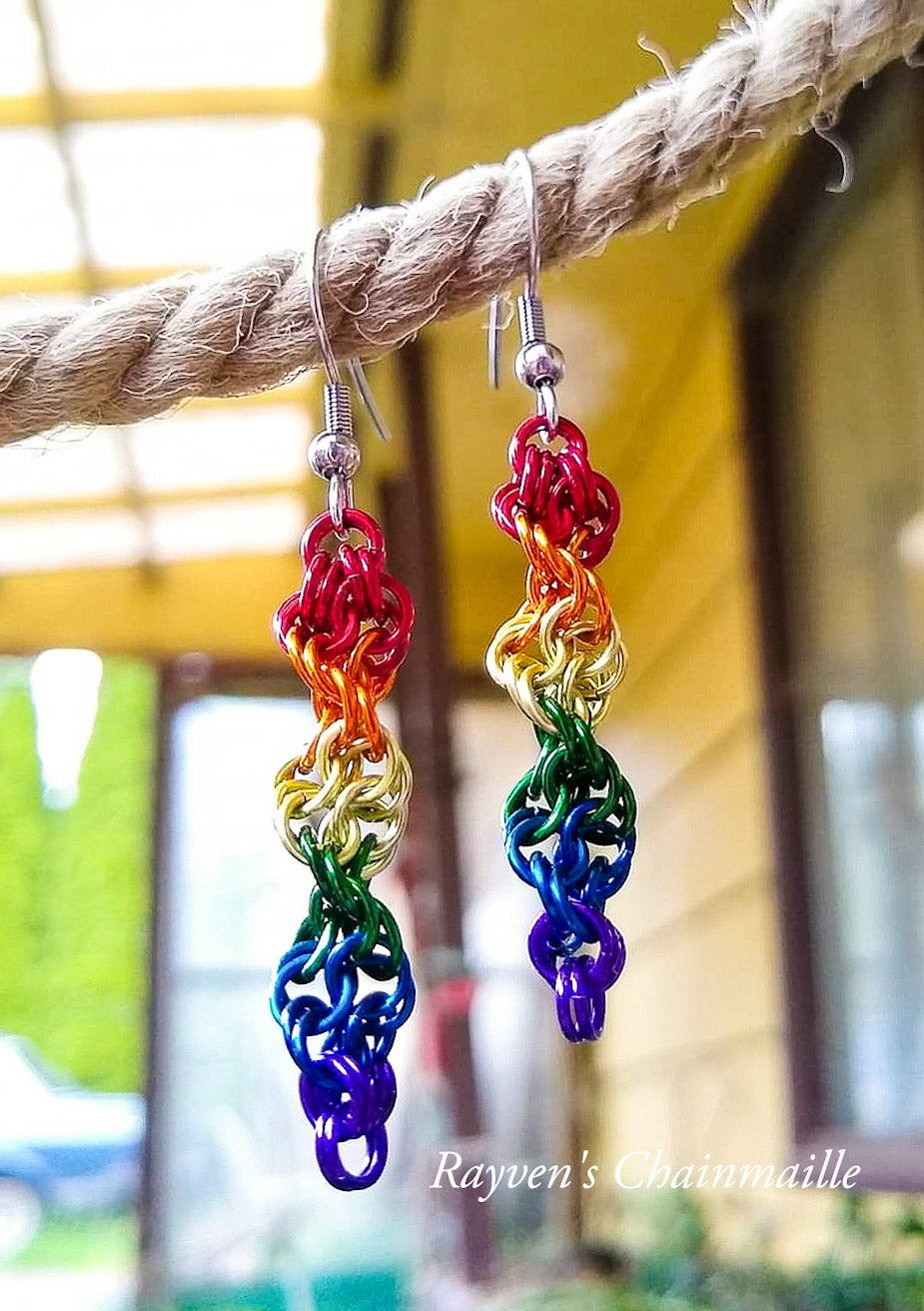 Rainbow Double Helix Chainmail Earrings - Rayven's Chainmaille