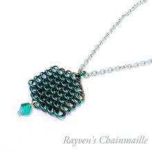 Load image into Gallery viewer, Dragonscale Crystal Hex Chainmail Necklace - Rayven's Chainmaille