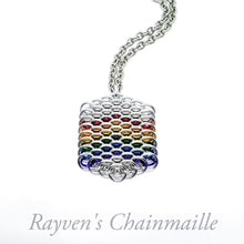 Load image into Gallery viewer, Rainbow Dragonscale Hex Chainmail Necklace - Rayven's Chainmaille