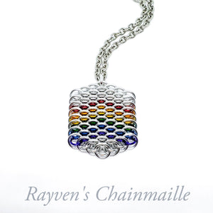 Rainbow Dragonscale Hex Chainmail Necklace - Rayven's Chainmaille