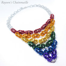 Load image into Gallery viewer, Unlawful Assembly Rainbow Byzantine Chainmail Necklace - Rayven's Chainmaille