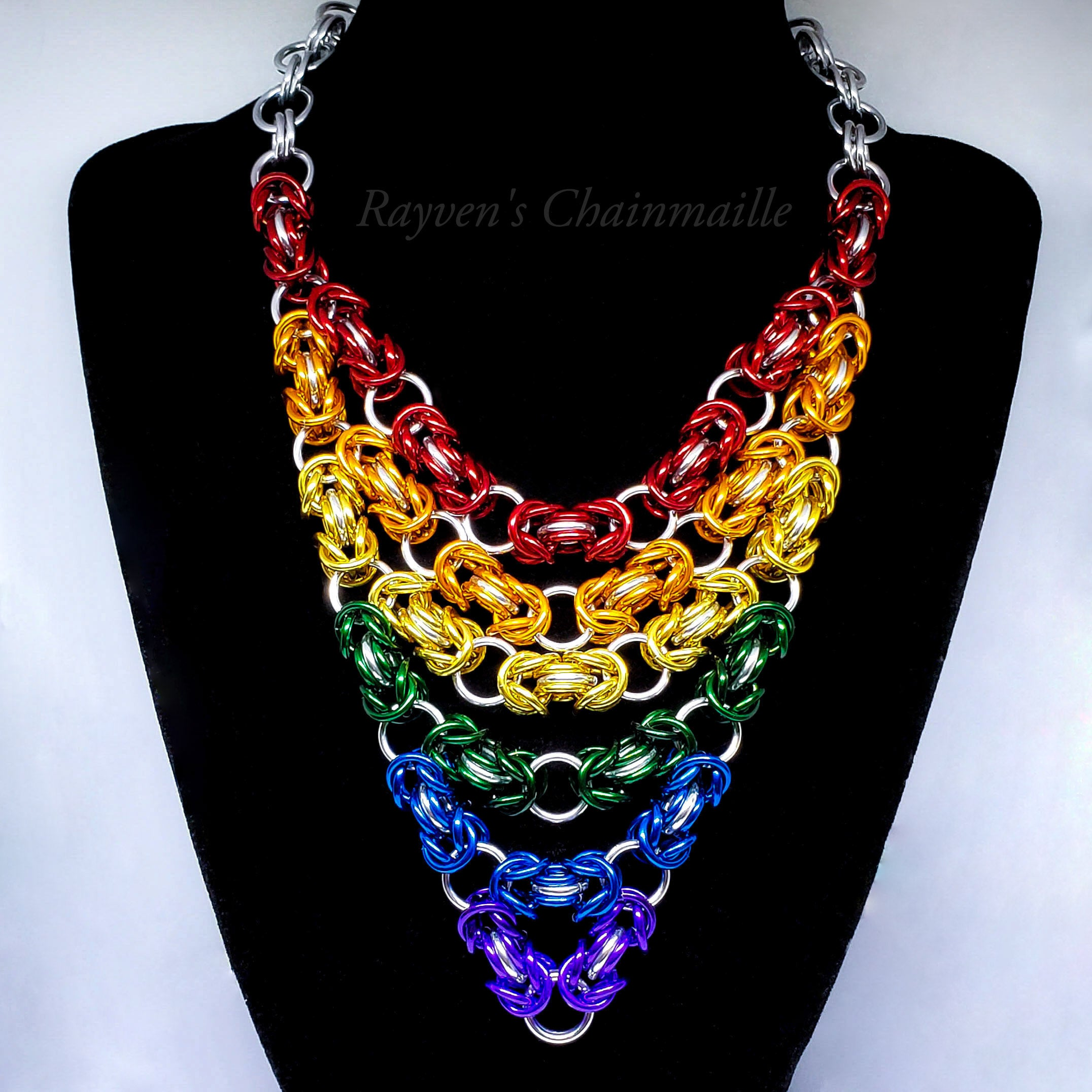 Unlawful Assembly Rainbow Byzantine Chainmail Necklace - Rayven's Chainmaille