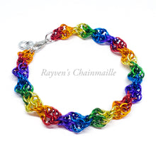 Load image into Gallery viewer, Rainbow Double Helix  Chainmail Bracelet - Rayven's Chainmaille