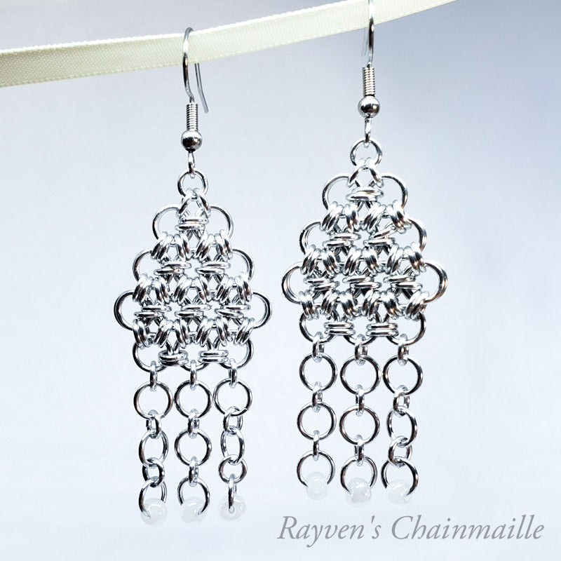 Beaded Serenity Chainmail Earrings - Rayven's Chainmaille