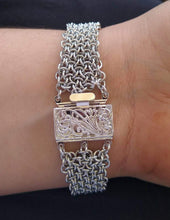 Load image into Gallery viewer, Silver Colored Hoodoo Hex Chainmaille Bracelet - Rayven's Chainmaille
