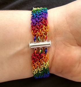 Rainbow Vipera Berus Chainmaille Bracelet - Rayven's Chainmaille