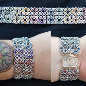 Silver & Rainbow Celtic Labyrinth Chainmaille Bracelet - Rayven's Chainmaille