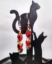Load image into Gallery viewer, Gryffindor Red & Gold Scaled Chainmaille Earrings - Rayven's Chainmaille