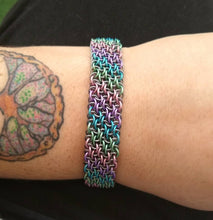 Load image into Gallery viewer, Matte Unicorn Rainbow Vipera Berus Sheet Chainmaille Bracelet - Rayven's Chainmaille