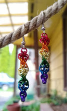 Load image into Gallery viewer, Rainbow Double Helix Chainmaille Earrings - Rayven's Chainmaille