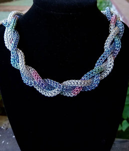 Unicorn Rainbow Foxtail Full Persian Braided Chainmail Necklace - Rayven's Chainmaille